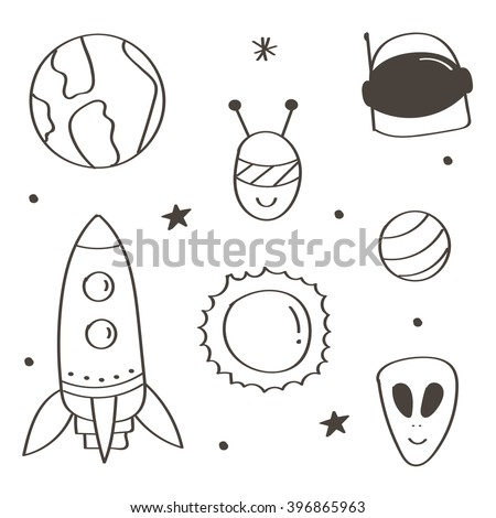 Set of cute monochrome space doodles isolated on white background. Aliens and planets doodles.