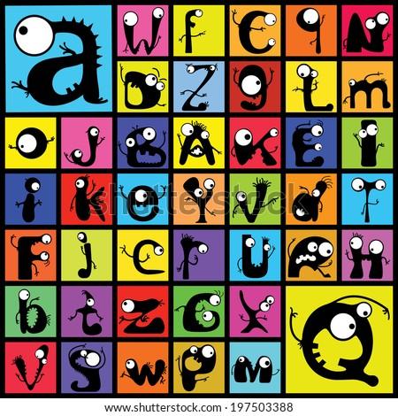 Set of cute monster alphabet. vector - stock vector