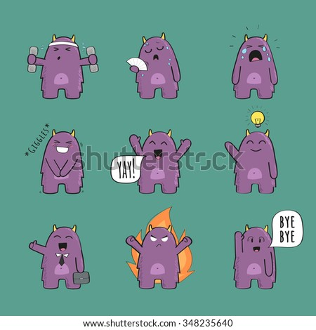 Set of cute monster character in various poses and with various emotions - stock vector