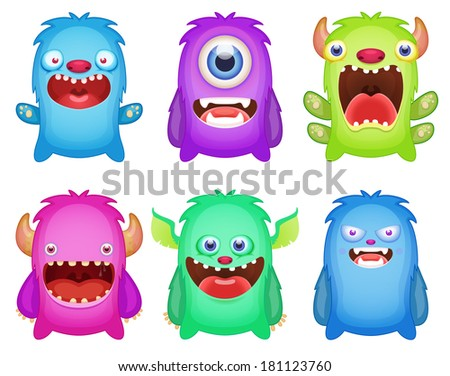 Set of cute monsters - stock vector