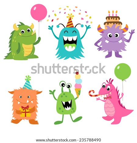 Set of cute monsters for your Birthday design. - stock vector