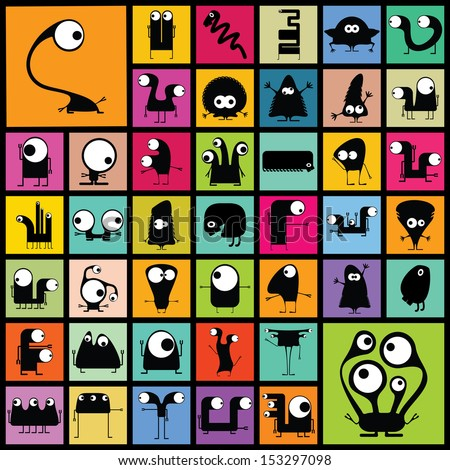 Set of cute monsters. vector  - stock vector