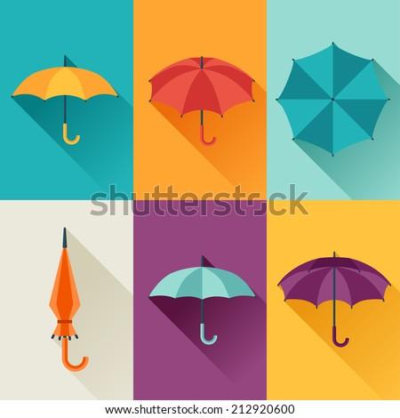 Set of cute multicolor umbrellas in flat design style. - stock vector