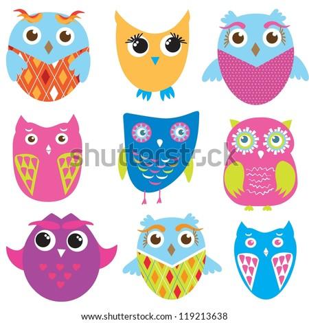 Set of cute owl birds - stock vector