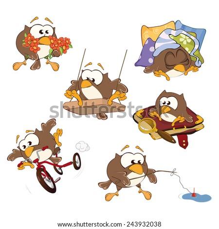 Set of cute owls for you design. Vector icons. Cartoon  - stock vector