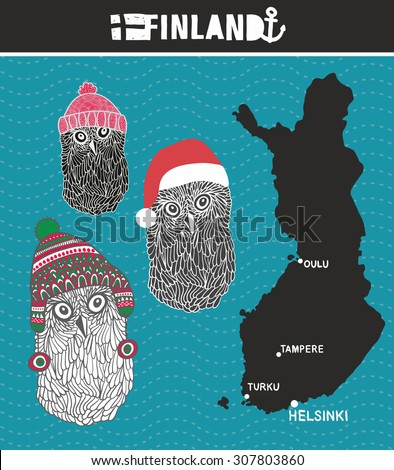 Set of cute owls from Finland. Vector illustration. - stock vector