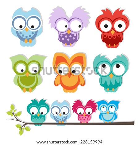 set of cute owls. vector - stock vector