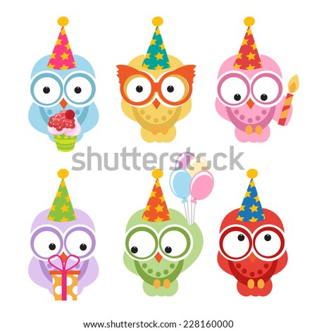 set of cute owls with birthday hats. vector - stock vector