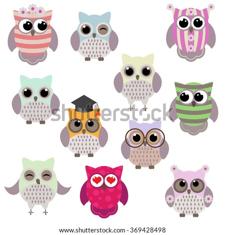 Set of cute owls with hat, glasses, hearts - stock vector