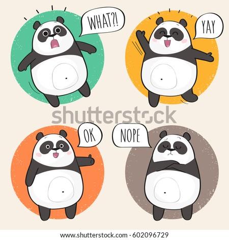 set cute panda bear stickers various stock vector royalty free
