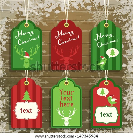 set of cute paper christmas tags, vector illustration, eps10 - stock vector