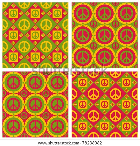set of 4 cute peace patterns - stock vector