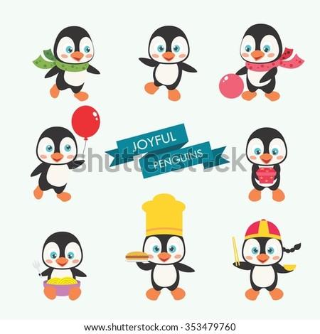Set Of Cute Penguin Cartoon, Vector Illustration - stock vector