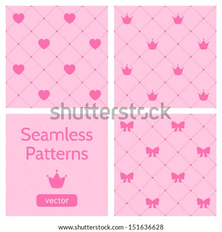 Set of cute pink girlish seamless patterns. Background with hearts, crowns, bows. Can be used to design children's clothing. Vector illustration.  - stock vector