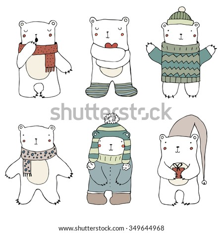 Set of cute polar bears on white  background. Hand drawn illustration. Vector. Isolated. Christmas childish pattern. Bears in Clothing - hat, sweater, scarf, cap. Cute Teddy Bear Collection. - stock vector