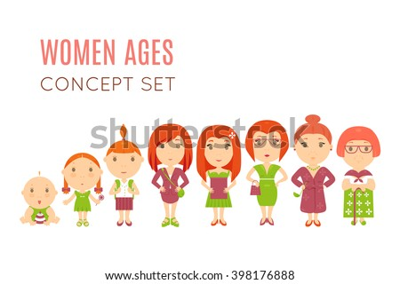 Set of cute pretty women age flat icons. Vector life aging stage illustration. Cartoon human generation. Feminine growing  process concept. Baby, child, kid, girl, wife mother old female daughter lady - stock vector