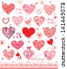 Set of cute red and pink hearts - stock vector