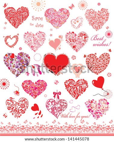 Set of cute red and pink hearts
