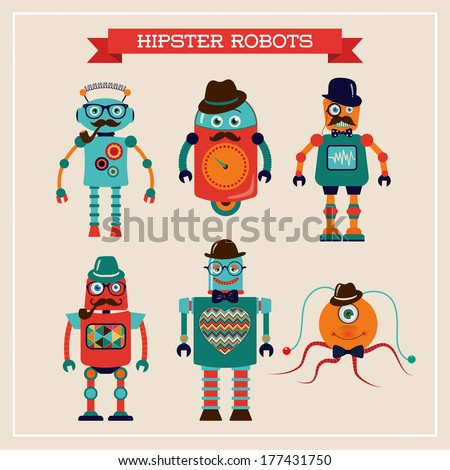 Set of cute retro hipster robots. Vector Illustration