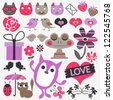 Set of cute romantic scrapbook elements - stock vector