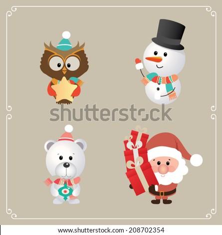 Set of cute Santa claus, owl, snowman and Christmas bear. Vector illustration - stock vector