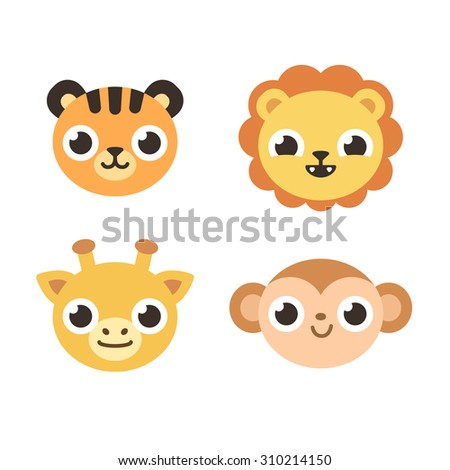 Set of 4 cute savanna animals: tiger, lion, giraffe and monkey. Flat cartoon style. - stock vector