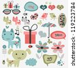Set of cute scrapbook elements - stock vector