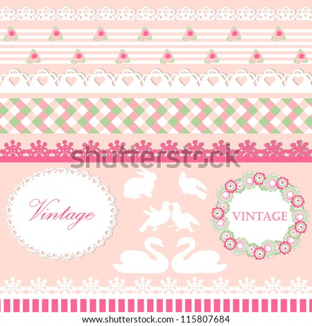 Set of cute scrapbook elements in pink and green pastel colors - stock vector