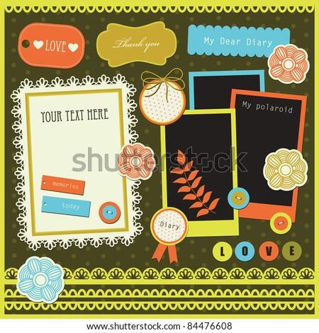 set of cute scrapbook elements. vector illustration - stock vector