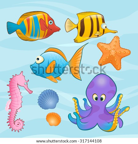 Set of cute sea animals on blue background. Cartoon styled vector illustration - stock vector