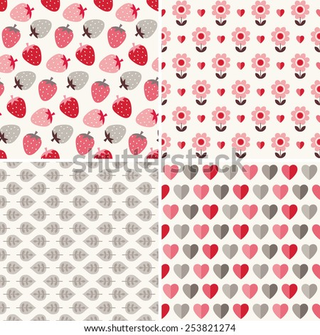 Set of cute seamless background patterns in peach pink, red, cream and gray for baby, birthday, Valentine's Day, gift wrapping paper. Nature motifs include strawberries, flowers, hearts and leaves.  - stock vector