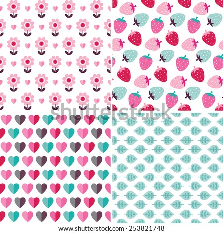 Set of cute seamless background patterns in pink, red and mint for baby, birthday, Mother's Day, gift wrapping paper. Nature motifs include strawberries, flowers, hearts and leaves.  - stock vector