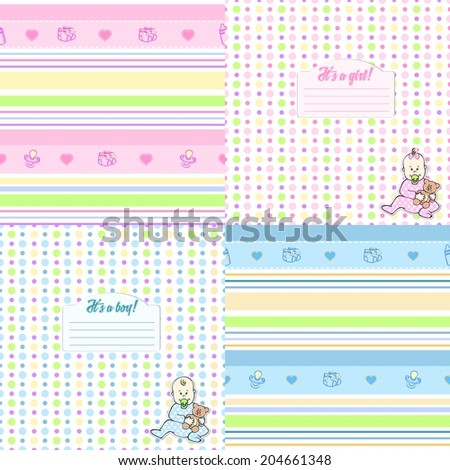 Set of cute seamless pattern for newborn boys and girls in blue and pink tones. Can be used to design cards, photo albums, cover notebook, paper or fabric. - stock vector