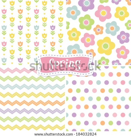 Set of cute seamless retro background patterns in spring colors for baby, Mother's Day, Easter, gift wrapping paper. - stock vector