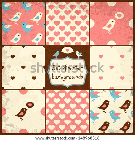 set of cute seamless vector backgrounds with polka dots, hearts and birds, eps10 - stock vector