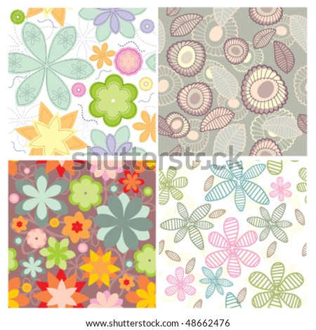 Set of cute seamless wallpaper - stock vector