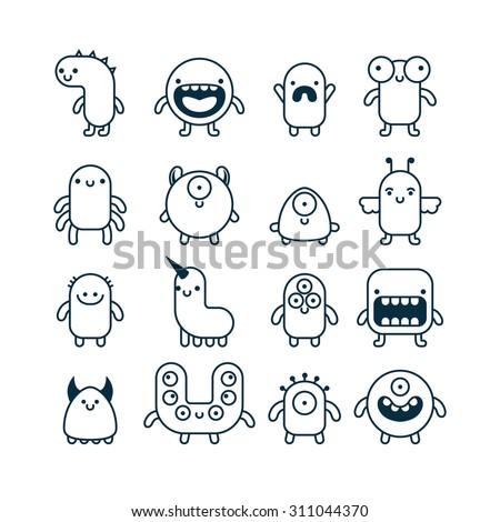 set of cute simple cartoon monsters - stock vector