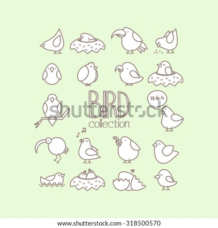 set of cute simple vector birds - stock vector