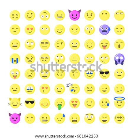 Set Cute Smiley Emoticons Emoji Flat Stock Vector Hd Royalty Free