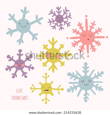 Set of cute snowflakes in cartoon style. Adorable snow flakes smiley characters. Funny christmas doodles. - stock vector