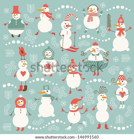Set of cute snowman  - stock vector