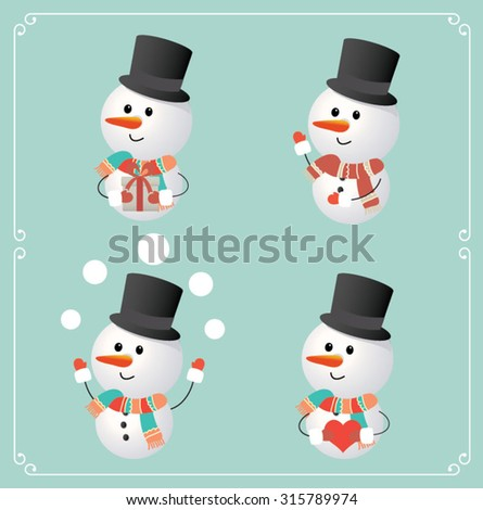 Set of cute snowman character. Vector illustration - stock vector