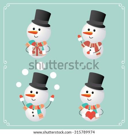 Set of cute snowman character. Vector illustration - stock vector