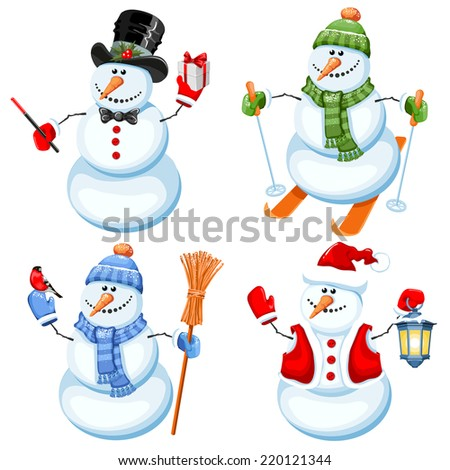 Set of cute snowman in different roles - stock vector