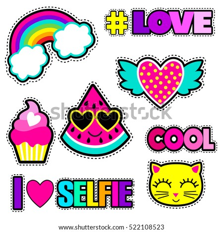 Set of cute stickers and different elements with watermelon rainbow cake heart