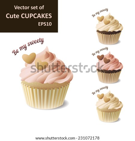 Set of cute strawberry, vanilla and chocolate cupcakes with hearts,EPS10 - stock vector