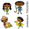 Set of cute summer afro-american children (color version) - stock photo