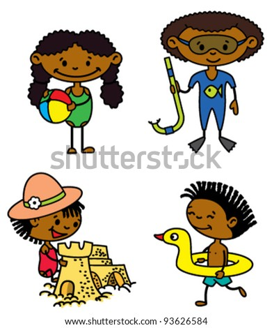 Set of cute summer afro-american children (color version) - stock vector
