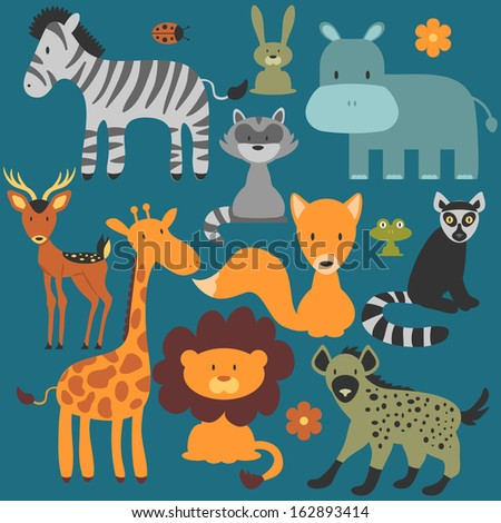 Set of cute various wild animals - stock vector