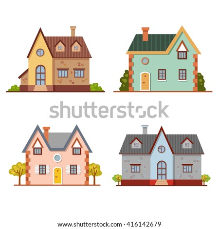 set cute vector cartoon brick houses stock vector 416142679 shutterstock. Black Bedroom Furniture Sets. Home Design Ideas